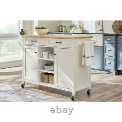 Rockford White Wood Kitchen Island with Natural Butcher Block Top 56.25 in. W