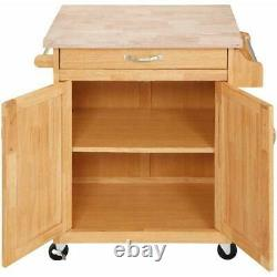Rolling Kitchen Island Cart Natural Wood Butcher Block Counter Top Drawer