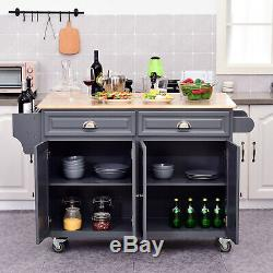 Rolling Oak Wood Drop Leaf Kitchen Island Cart with Drawers and Butcher Block Grey