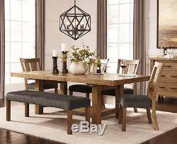 Rustic Dining Table Extending Wood Butcher Block Kitchen Distressed Brown Large