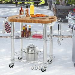 Seville Classics Rolling Oval Solid-bamboo Butcher Block Top Kitchen Island Cart