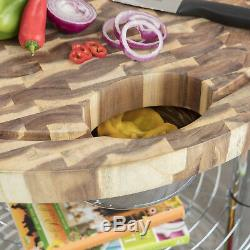 Seville Classics Rolling Solid Acacia Butcher Block Top Kitchen Island Cart