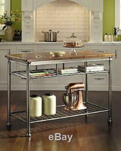 Small Kitchen Island Utility Table Shelves Hardwood Butcher Block Top Food Prep
