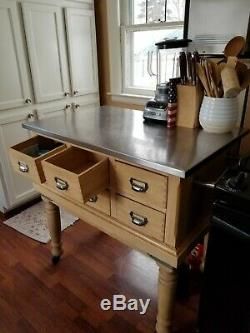 Solid Wood And Stainless Steel Butcher Block