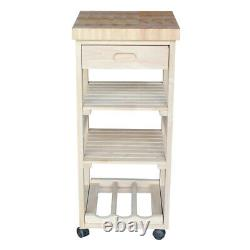 Solid Wood Kitchen Cart Trolley Server Butcher Block Wine Rack Drawer Unstained