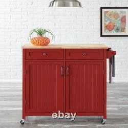 Stylewell Kitchen Island Cart Wood Food Safe Natural Butcher Block Top Chili Red
