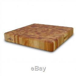 Super Slab Cutting Board with Finger Grooves 20x20x3-In Heavy-Duty Butcher Block