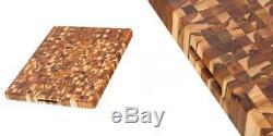 Teak Cutting Board Rectangle End Grain Butcher Block (24 x 18 x 1.5 in.)