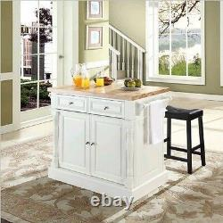 Top Kitchen Island in White Finish with 24-Inch Black Upholstered Saddle Stools