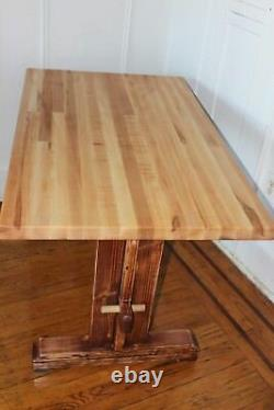 Trestle Farm Table with Butcher Block top, live edge Bench and Pulley light