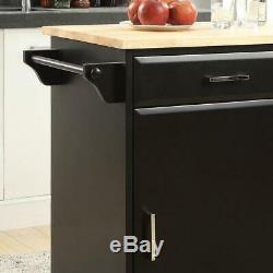 USL Small Kitchen Cart Drop Leaf Food-Safe Butcher Block Top Framed Wood Black