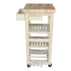Unfinished Kitchen Cart Butcher Block, Drawer, (2) Shelves, Wine Rack, Casters