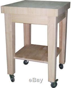 Unfinished Kitchen Cart Butcher Block Top Rolling Wheels Wood Storage Shelf Home