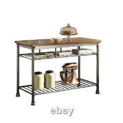 Utility Table Vintage Carmel Kitchen Metal Base Slotted Shelves Food Prep Carts