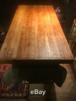 Vintage 5 Butcher Block Industrial Workbench 3 Wood Kitchen Table Island