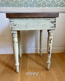 Vintage Antique Butcher Block Table Shabby Chic Redwood Primitive 23w