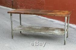 Vintage Butcher Block Table, Kitchen Island Bakers Cooking Station Desk wood top