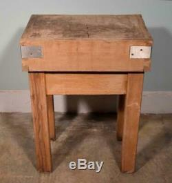 Vintage French Butcher Block Table Island in Solid Maple Wood