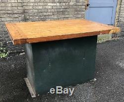 Vintage Industrial Butcher Block Wood Kitchen Island Green Metal Base Workbench
