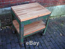 Vintage Industrial Factory Cart Steel Metal Stand Oak Wood Butcherblock Table