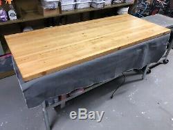 Vintage Industrial Solid Wood Workbench Maple Butchers Block Table Slab Top