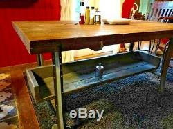 Vintage Wood Butcher Block Kitchen Island Table