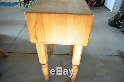Vintage John Boos Block Butcher Cutting Table Maple Wood Solid 24x18x10 x34