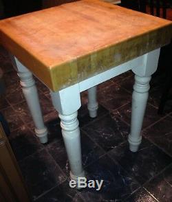 Vintage Kitchen Butcher Block Table White Legs Very Heavy