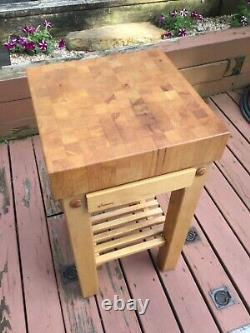 Vintage Le Gourmand Butcher Block Island with drawer