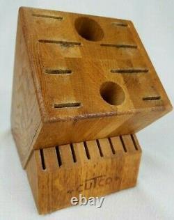 Vintage Logo Cutco Solid Wood Butcher Block 18 Slot Holder Honey Large T