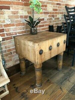 Vintage Maple Butcher Block Table 30x 25 X 31H by Michigan Maple Block Co