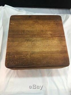 Vintage Old Antique Tabletop Square Shaped Wood Butcher Block 11 x 11 6 Tall