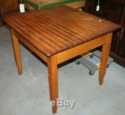 Vintage Primitive Wood Breadboard Butcher Block Top Work Table Farmhouse Chic