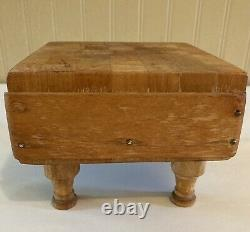 Vintage Small Butcher Block Footed Cutting Board Primitive