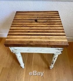 Vtg Antique Butcher Block Table Shabby Chic 23x23x32 Redwood Chippy Ivory with Top