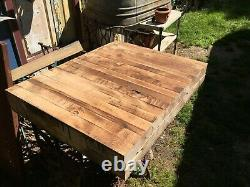 Vtg Wood Butcher Block Table on Cast Iron Sewing Machine Base Industrial Table