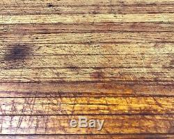 Vtg Wooden Butcher Block Heavy Industrial Cutting Board Footed 23.5 x 13.5 x 2