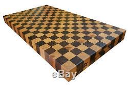 WALNUT CHERRY Checker Designer Butcher Block Cutting Board NEW end grain