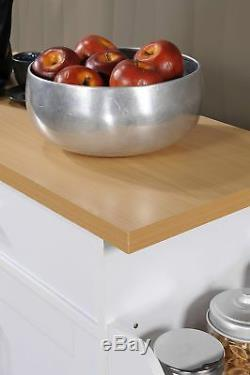 WHITE Wood Rolling Kitchen Island Butcher Block Table Cart Wheel Serving Buf