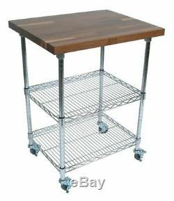 Walnut Boos Metropolitan Wire Cart Butcher Block Top, Chrome Shelves, 27 x 2