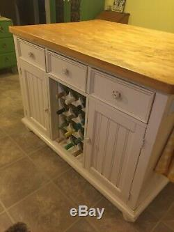 White Kitchen Island with Stools Butcher Block Cabinet LOCAL PICKUP ONLY HEAVY