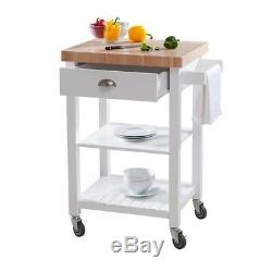 White Kitchen Rolling Carts Butcher Block Top Thick Wood Caster Rack Storage