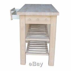 White Wood Kitchen Island Utility Table 2 Shelf Drawer Storage Butcher Block New