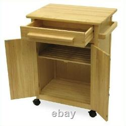 Winsome Beechwood Butcher Block Kitchen Cart in Natural Finish
