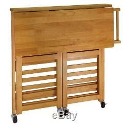Winsome Wood Kitchen Cart Drop Leaf Oak Two Locking Wheels 2-Shelves 34.57 in. H