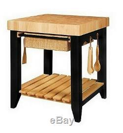 Wood Butcher Block Kitchen Island Food Prep Station with Baskets & Shelf Storage