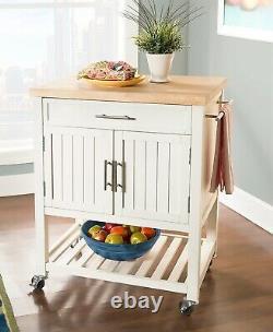 Wood Butcher Block Rolling Kitchen Cart Island White