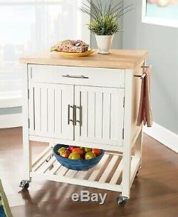 Wood Butcher Block Rolling Kitchen Cart Island White