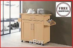 Wood Rolling Kitchen Island Butcher Block Table Cart Wheel Serving Buffet Beech