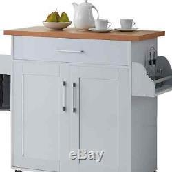 Wood Rolling Kitchen Island Butcher Block Table Cart Wheel